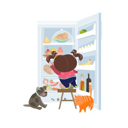 소녀는 냉장고에서 케이크를 복용. 벡터 일러스트 레이 션 일러스트