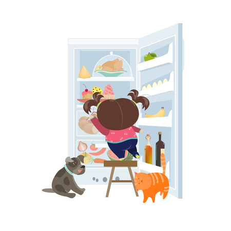 refrigerator with food: Girl taking the cake from refrigerator. Vector illustration