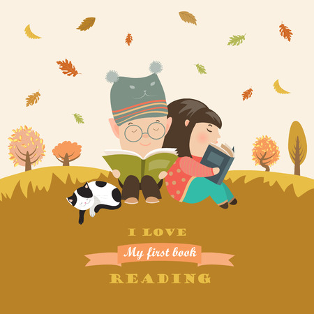 reads: Kids reading book at autumn meadow. Vector illustration