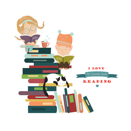 cartoon reading: Funny kids reading books. Vector isolated illustration