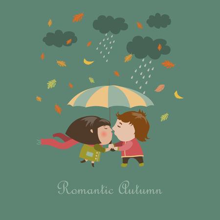love kiss: Boy and a girl kissing under umbrella. Vector illustration Illustration