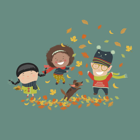 Kids playing with autumn leaves. Vector illustration