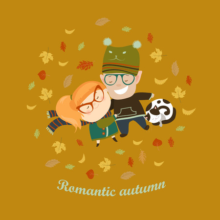 cute animal cartoon: Romantic couple lying on grass among the fallen leaves. Vector illustration Illustration