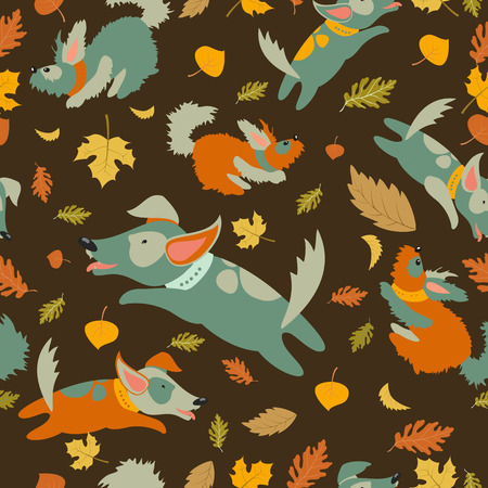 funny dogs: Seamless vector pattern,funny dogs playing with autumn leaves