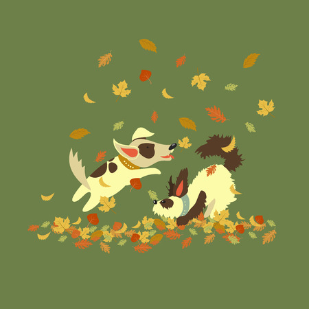 dogs playing: Funny dogs playing with autumn leaves. Vector illustration