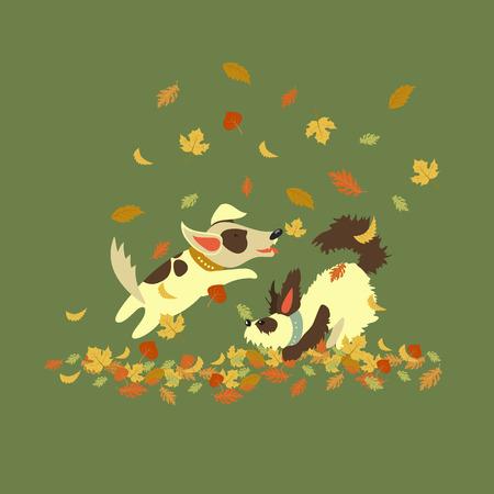 perros jugando: Perros divertidos jugando con hojas de oto�o. Ilustraci�n vectorial
