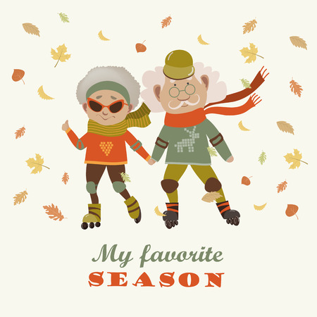 autumn woman: Cartoon active old couple, man and woman doing sport. Vector illustration