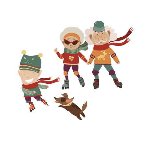 Cartoon active grandparents with grandson, family rollerblading Vectores