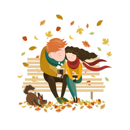 animal lover: Couple sitting on bench and drink coffee. Vector isolated illustration Illustration