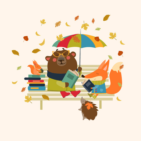 cartoon reading: Fox,bear, hedgehog and little squirrel reading books on bench. Vector isolated illustration