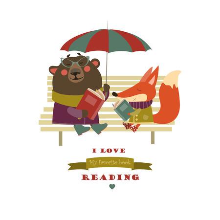 귀여운 여우와 벤치에 재미 곰 책을 읽고. 벡터 격리 된 그림