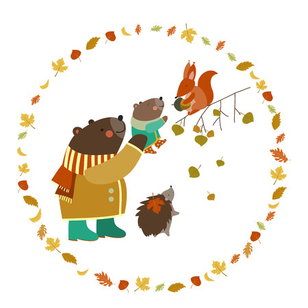 Bear, bear cub, squirrel and hedgehog walking in the autumn forest. Vector illustration