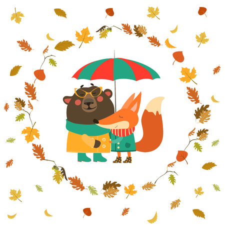 Cute fox and bear hugging under umbrella in wreath of autumn leaves. Vector illustration 矢量图像