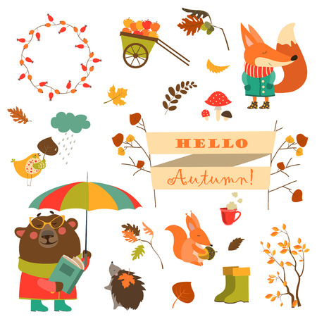 Cartoon characters and autumn elements. Vector collection Illustration