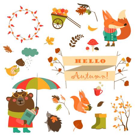 Stripfiguren en de herfst elementen. Verzameling vector Stock Illustratie