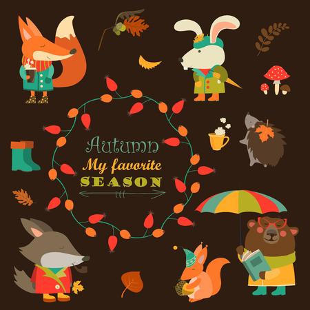 character design: Cartoon characters and autumn elements
