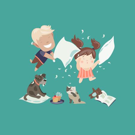 convivencia familiar: Cabritos divertidos que tienen una pelea de almohadas. Ilustración vectorial