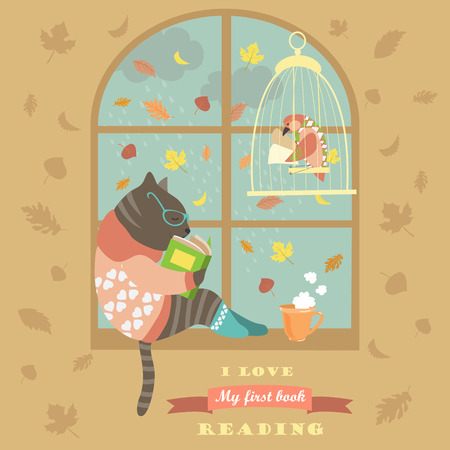 teatime: Funny cat reading by the window.  Illustration