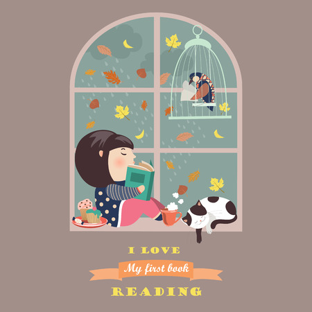 窓際を読んでいる女の子。
