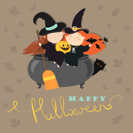 Funny witches with pot. Vector greeting card Illustration