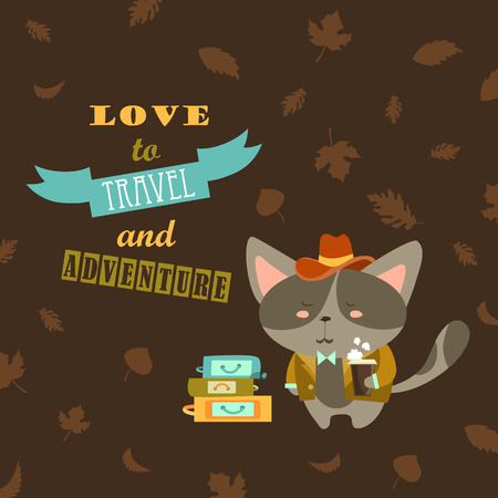 cat suit: Cat traveler in suit with cup of coffee and suitcases. Vector illustration