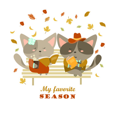 flirting: Couple of cats sitting on bench reading books and flirting. Vector isolated illustration