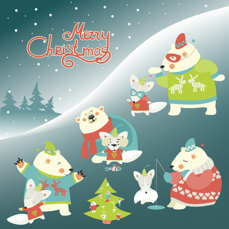 winter trees: Set of cute polar bear and funny arctic fox. Vector illustration