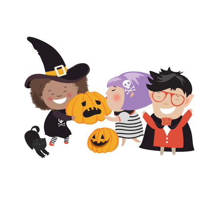 treating: Children trick or treating in Halloween costume. Vector isolated illustration Illustration