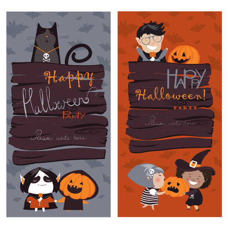 fruit background: Halloween Banners Set. Vector Illustration. Trick or Treat Stickers. Halloween Party Invitation