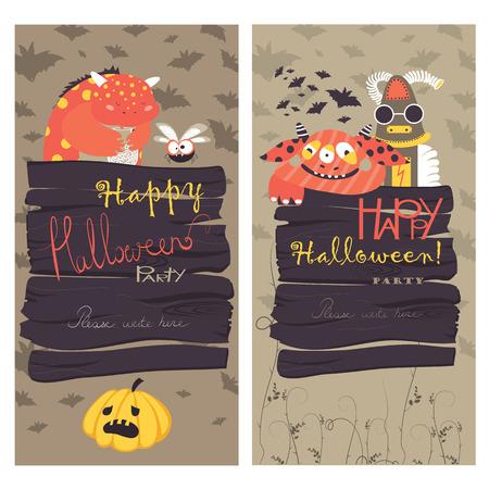 halloween costume: Halloween Banners Set. Vector Illustration. Trick or Treat Stickers. Halloween Party Invitation