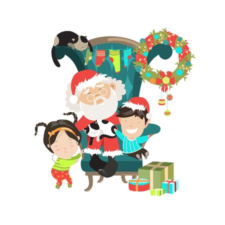 행복 한 아이들과 함께 산타 클로스입니다. 벡터 절연 illustartion