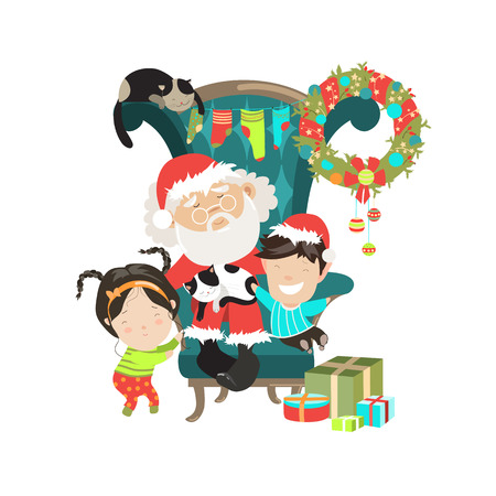 Santa Clause with happy kids. Vector isolated illustartion