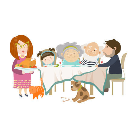 child and dog: Portrait of big family sitting at the table. Vector isolated illustration