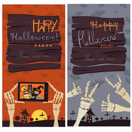 brujas caricatura: Banners de Halloween Set. Ilustraci�n del vector. Truco o parachoques. Invitaci�n del fiesta de Halloween