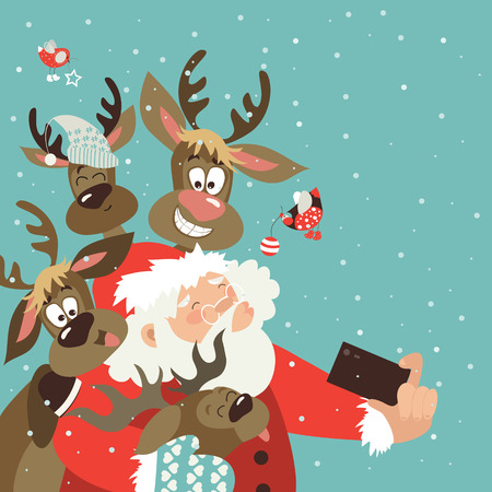 xmas: Santa and reindeers take a selfie. Vector illustration