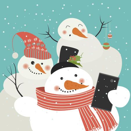 holding smart phone: Cute snowmen take a selfie. Vector illustration