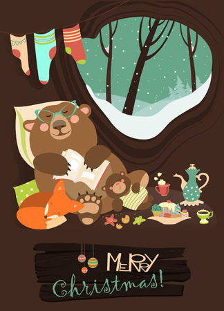 foxes: Cute cartoon bear with cub and little fox sleeping in the winter in his den. Vector greeting card