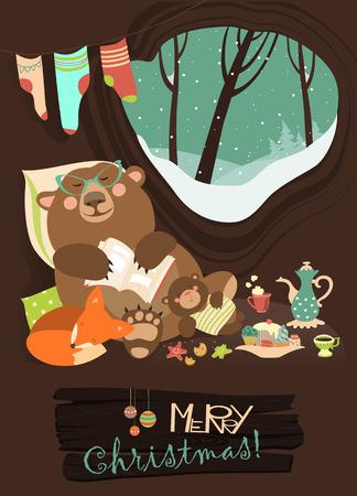amicizia: Orso cartone animato carino con cucciolo e piccola volpe che dorme in inverno nella sua tana. Vector greeting card