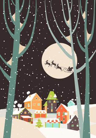 Kerstman slee met rendieren vliegen over de stad en gooit geschenken op de achtergrond van de maan. Vector wenskaart Stock Illustratie