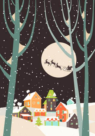 Santa Claus sleigh with reindeer fly over the city and throws gifts on the background of the moon. Vector greeting card