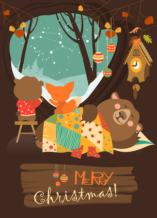 fox: Cute bear and little fox watching snow from den. Vector greeting card