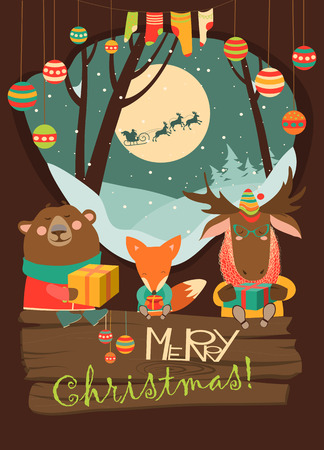 wintering: Cute animals with gifts. Vector greeting card