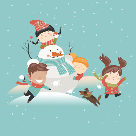 Funny kids playing snowball fight. Vector illustration Vettoriali