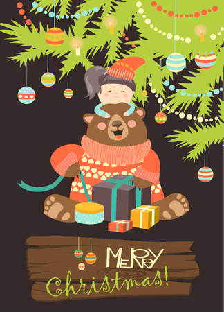 clothes cartoon: Girl gives gifts to bear. Vector greeting card Illustration