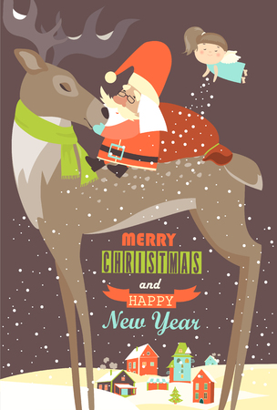 luna caricatura: Santa Claus sitting on reindeer. Vector greeting card Foto de archivo