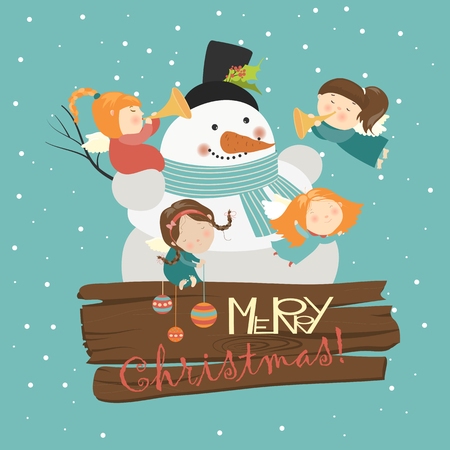 cute angel: Big snowman with cute angels. Vector greeting card Illustration