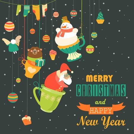 weihnachtsmann lustig: Nette Weihnachtsschmuck mit Santa, Schneemann, Engel und Bär. Vektor-Grußkarte Illustration