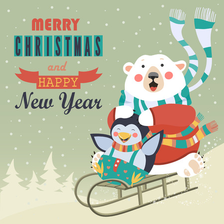 Frightened bear and happy penguin rolling down a hill on sleds. Vector greeting card  イラスト・ベクター素材
