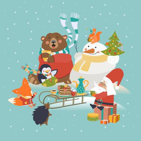 Schattige dieren vieren Kerstmis. Vector wenskaart Stock Illustratie