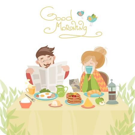 pareja comiendo: Pareja en el amor de desayunar. Ilustración vectorial